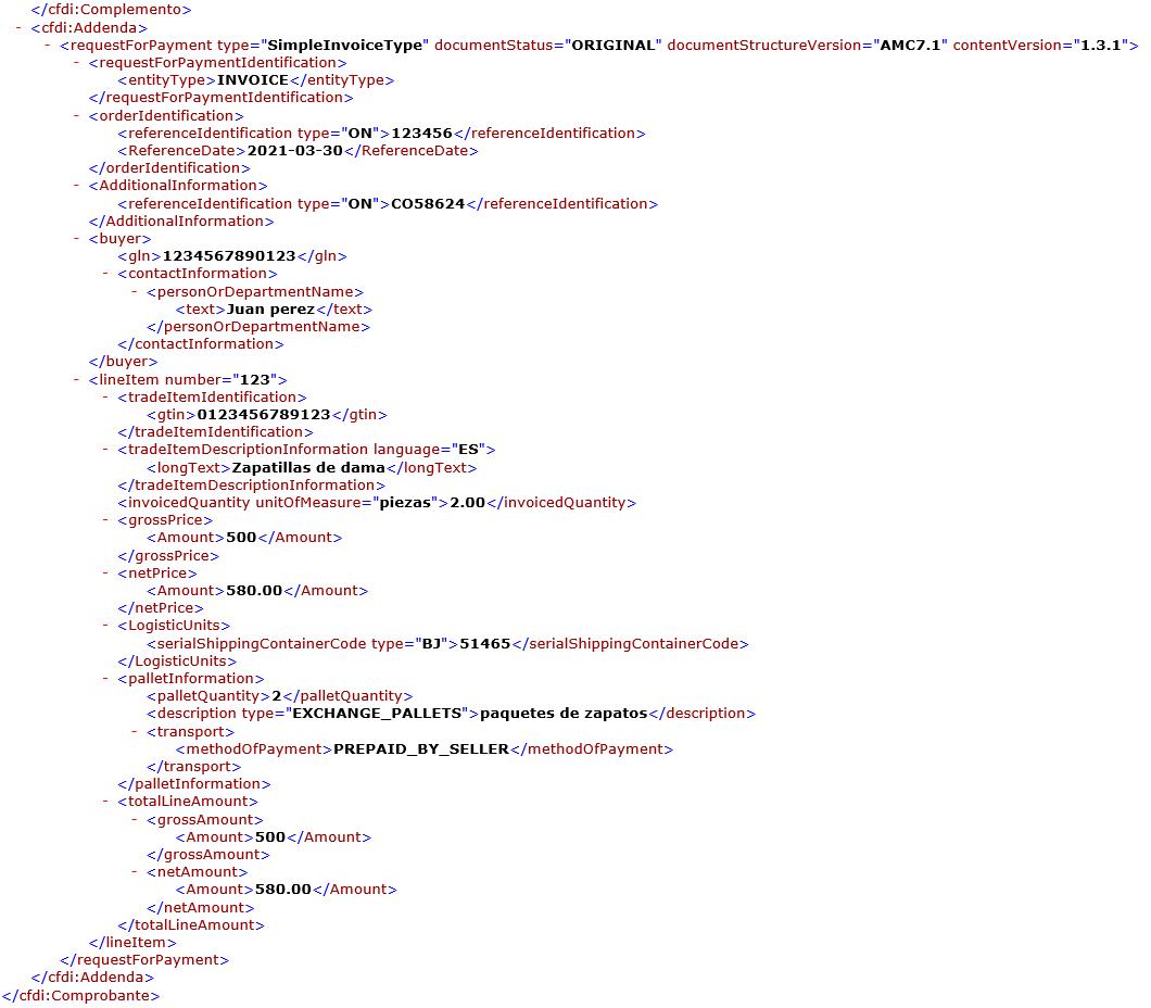 adenda amece 7.1 xml ejemplo